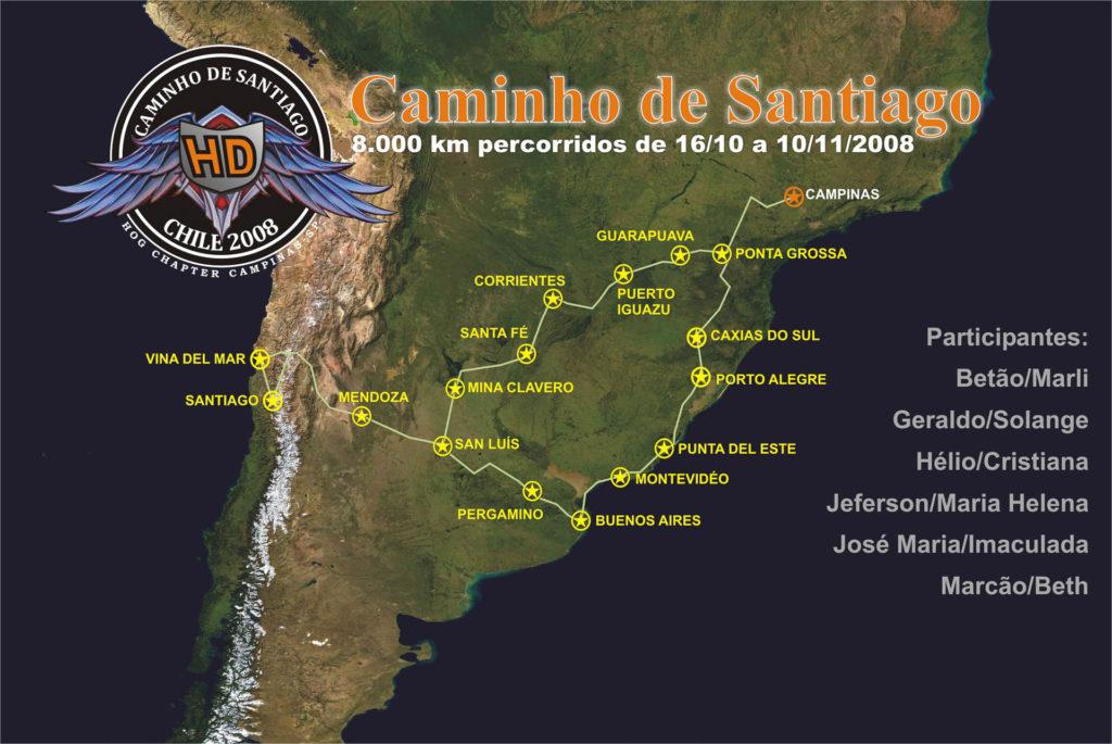 Mapa da Viagem ao Chile 2006