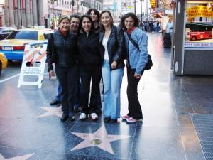 Galera na calçada da fama em Hollywood