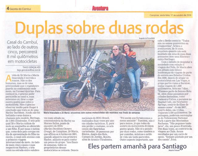 Reportagem no Jornal do Cambuí de 17/10/2008