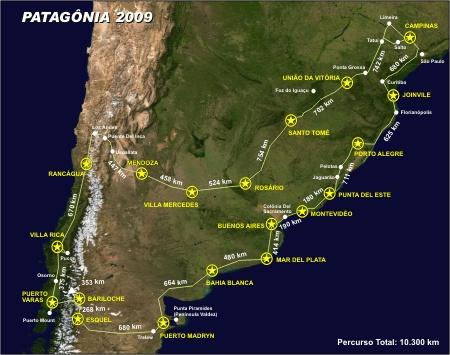 Trajeto da Viagem de moto à Patagônia - Out/Nov 2009
