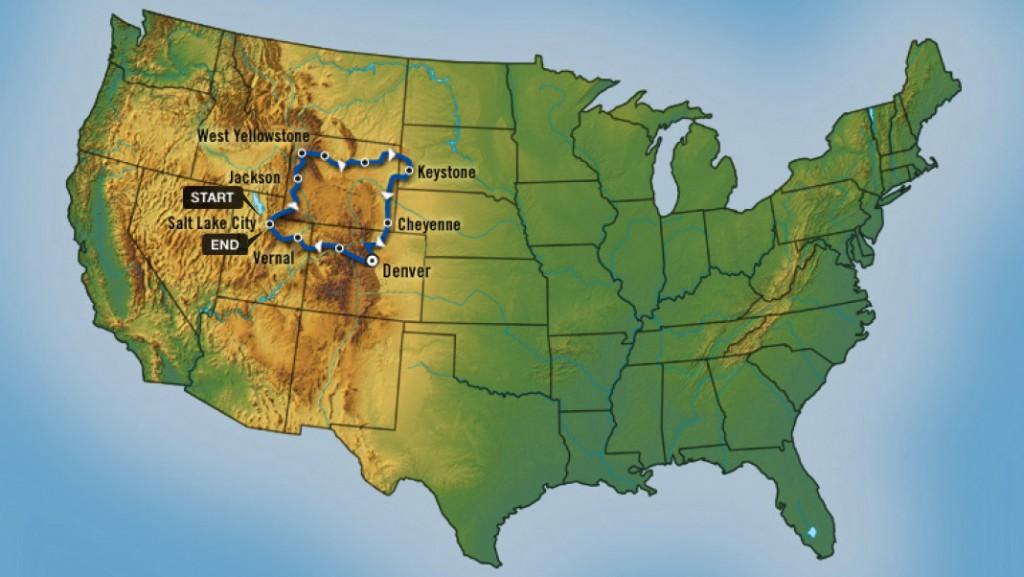 Trajeto da Viagem Western Frontier Tour